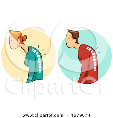 Clipart of a Hunched White Woman and Man and Visible Spines with.