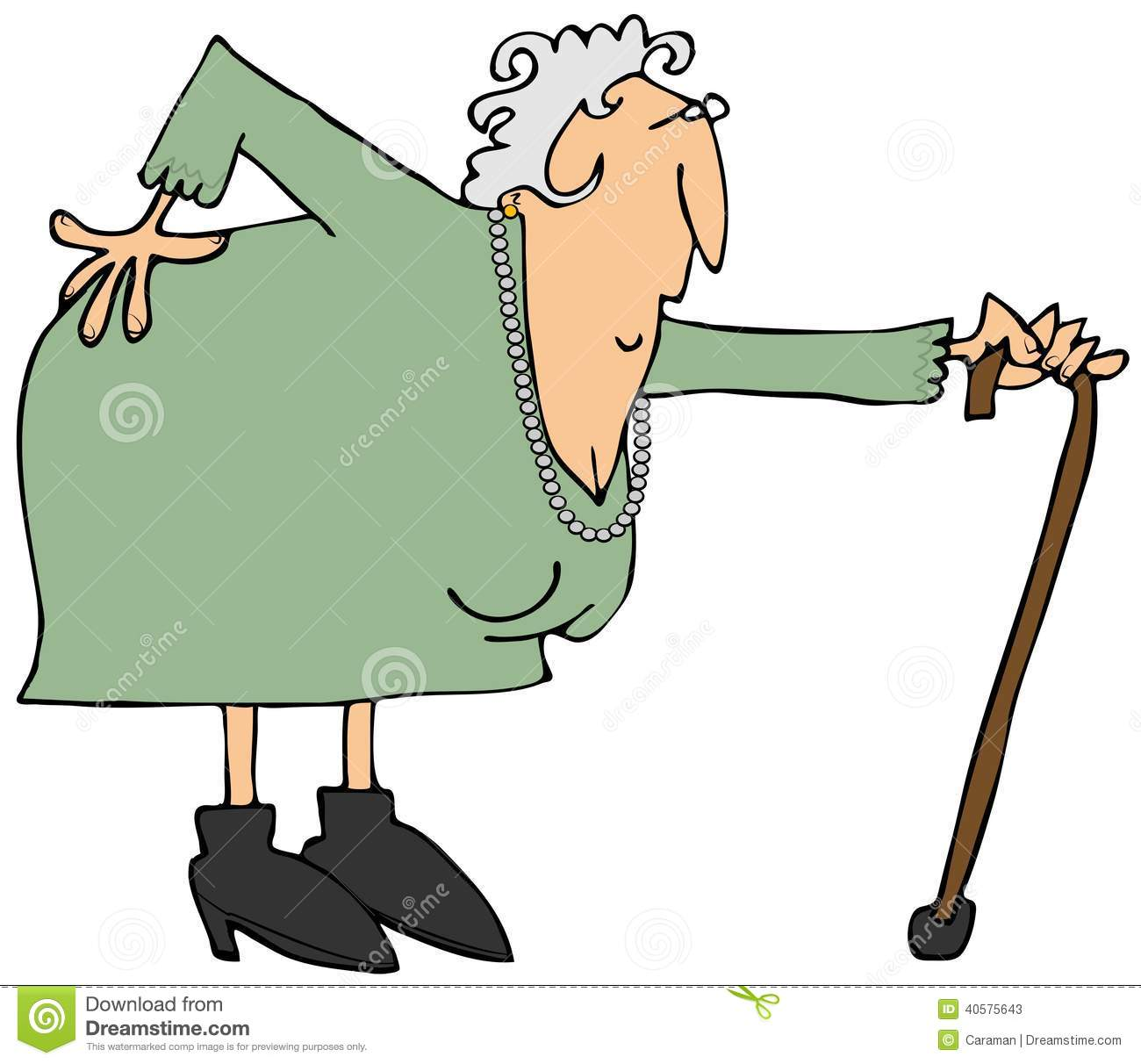 Old Woman With A Sore Back Stock Illustration.