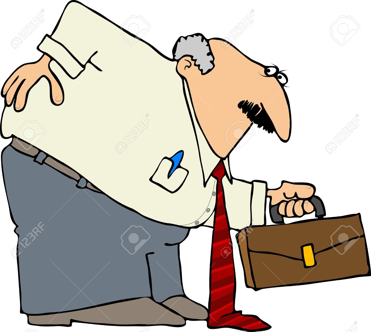 This Illustration Depicts A Businessman Bent Over With A Sore.