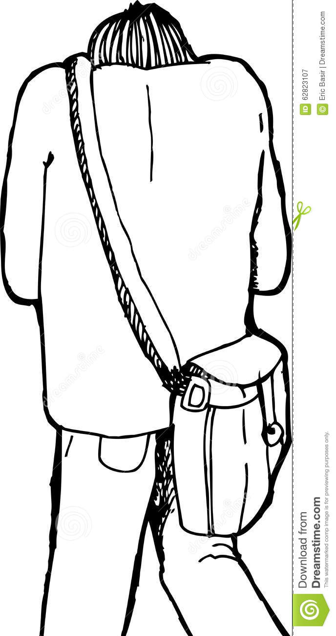 Hunched Over Person Walking Stock Illustration.