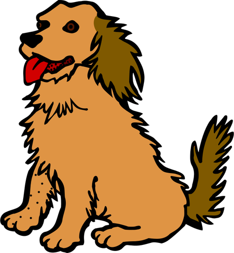 Vector clip art of dog with red tongue.