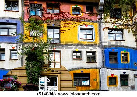 Pictures of Hundertwasser house in Vienna k5140848.
