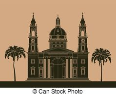 Clipart Vector of Hungary landmarks. Retro styled image. Vector.