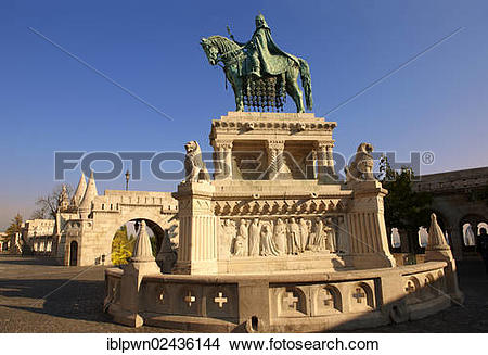 "Stock Photo of ""Equestrian statue of King Istvan, Fisherman's."