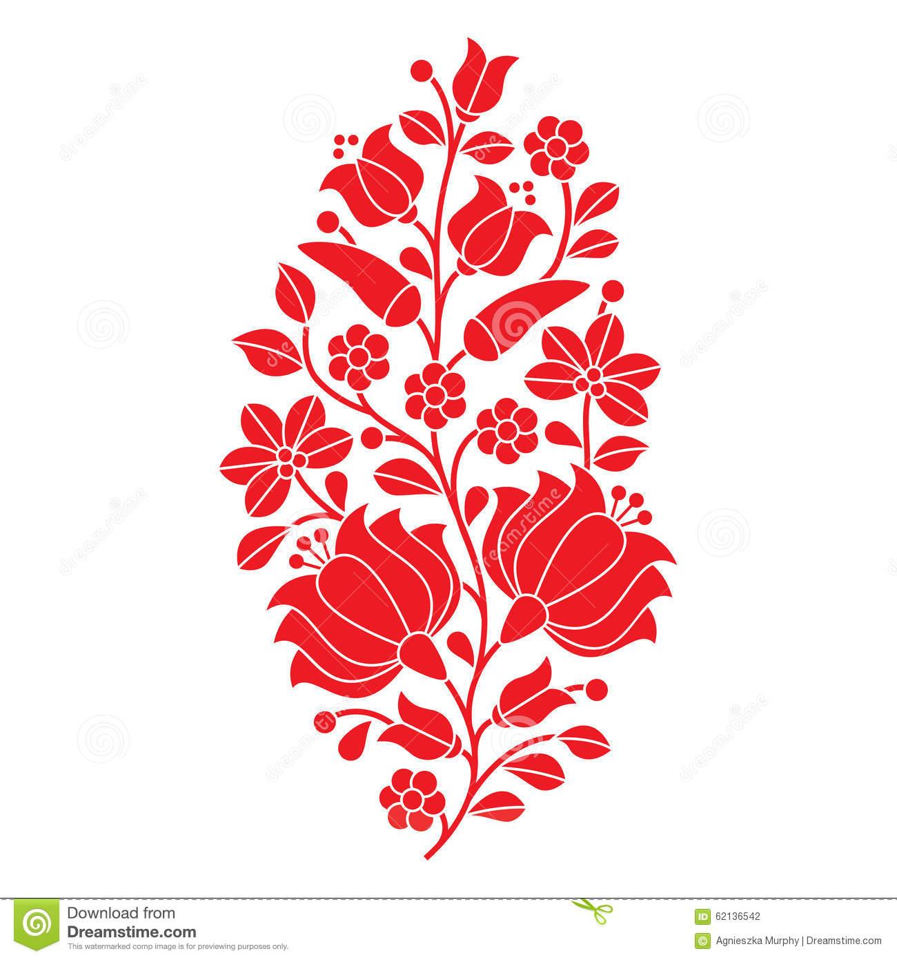 Hungarian Red Folk Pattern.