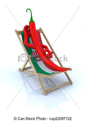 Clip Art of paprika resting on a beach chair, concept hungarian.