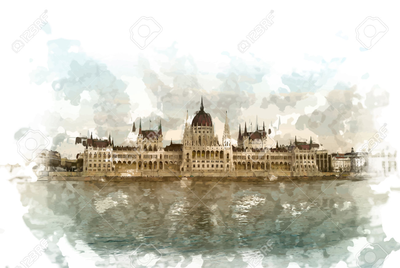 Gorgeous View Of Budapest Parliament Building In Sunset Under.