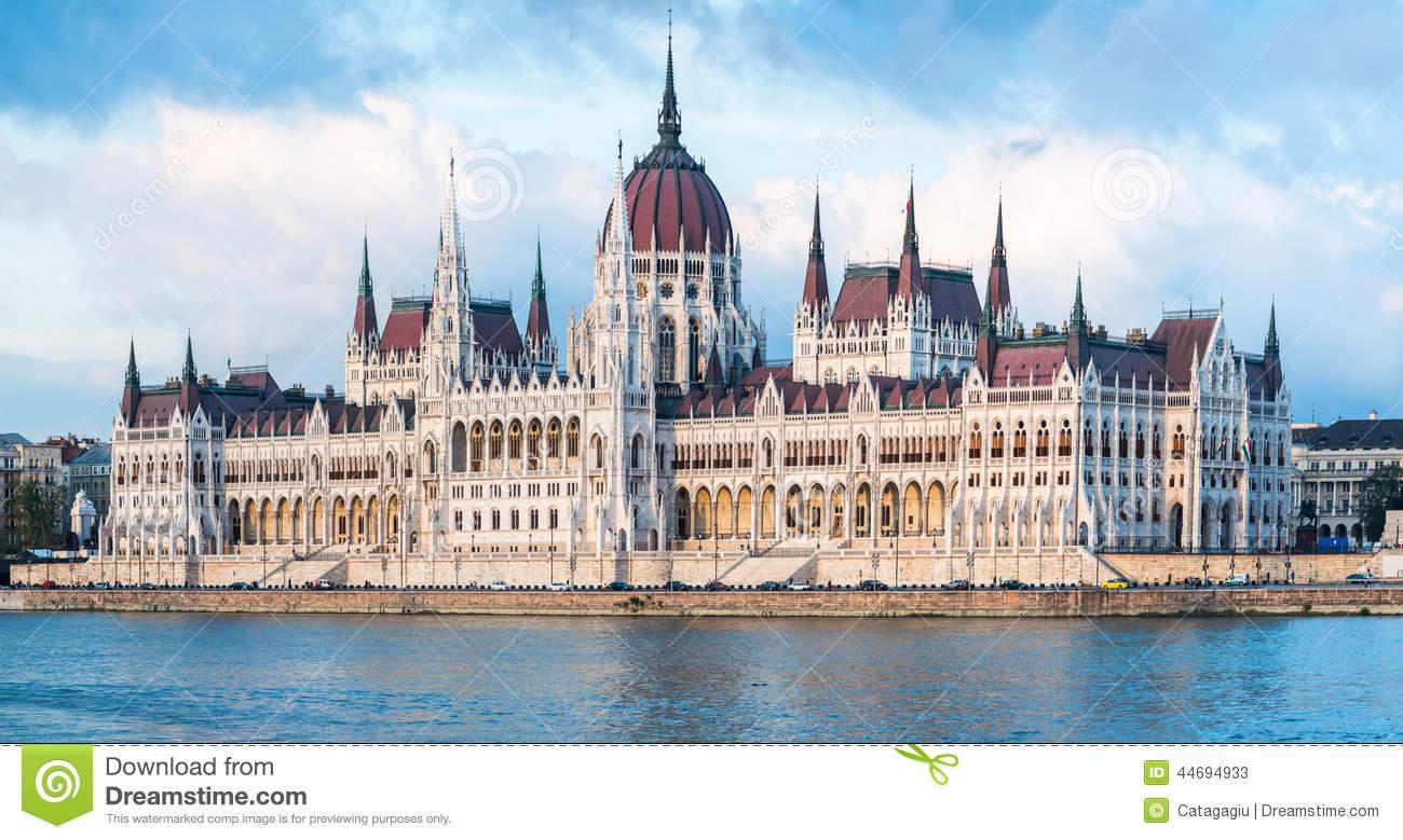 The Hungarian Parliament Building Panorama Stock Photo.
