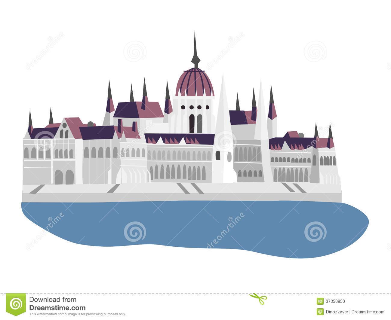 Budapest Parliament Building Stock Illustrations.