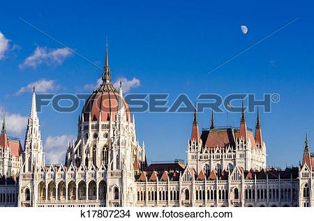 Stock Photo of Budapest, Hungarian Parliament Building and moon.