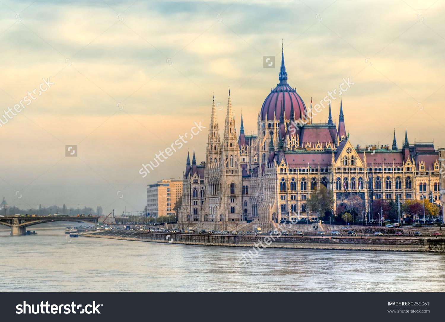 View Hungarian Parliament Building Budapest Hungary Stock Photo.