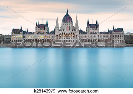 Stock Photograph of Hungarian Parliament Building before dawn.