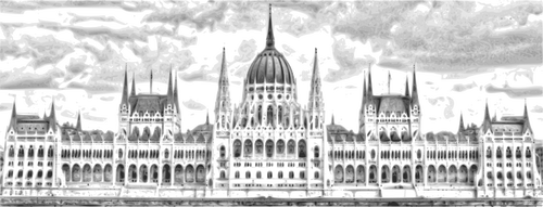Budapest parliament building vector illutstration.