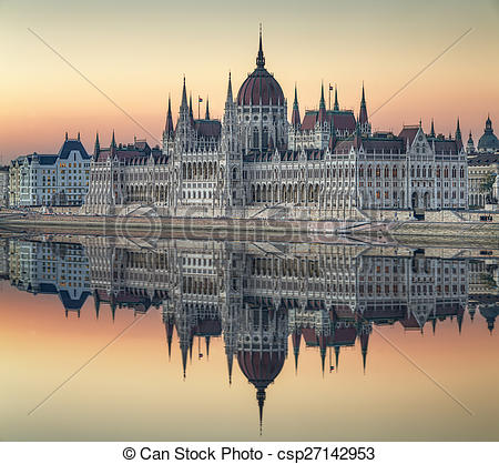 Stock Images of View of hungarian Parliament building, Budapest.