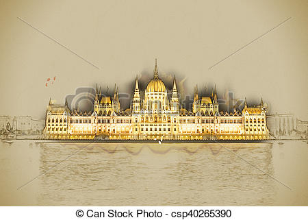 Stock Illustration of The Hungarian Parliament Building with.
