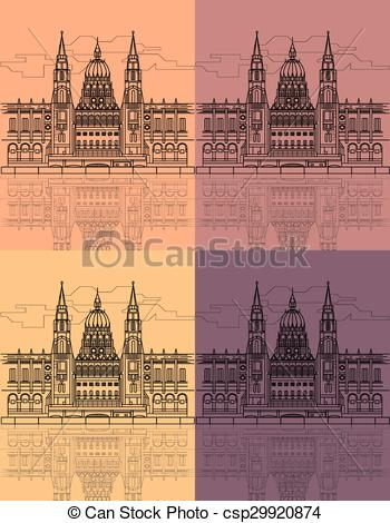 Vectors Illustration of The Hungarian Parliament Building on the.