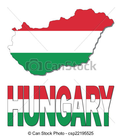Vector Illustration of Hungary map flag and text illustration.