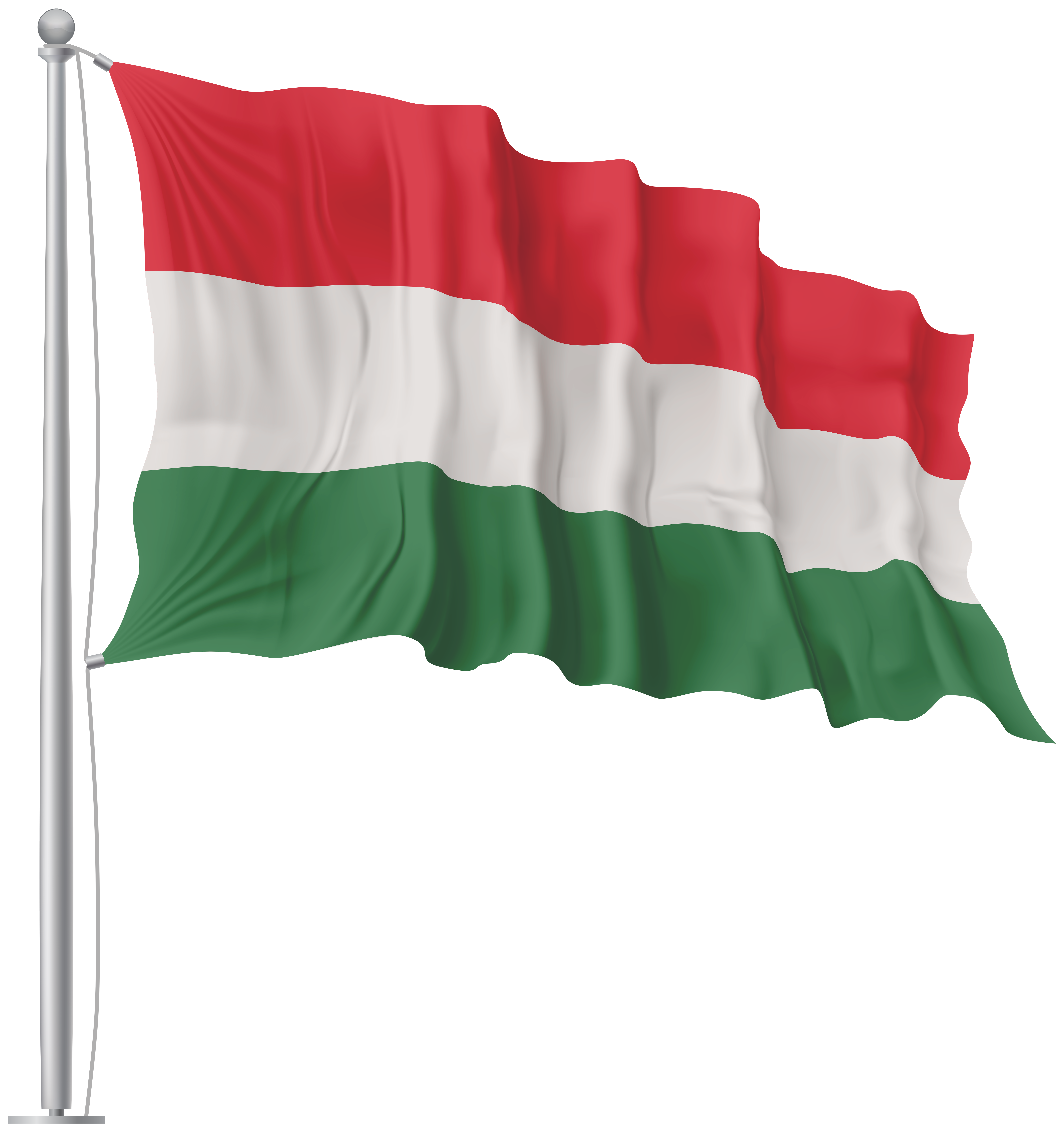 Hungary Waving Flag PNG Image.