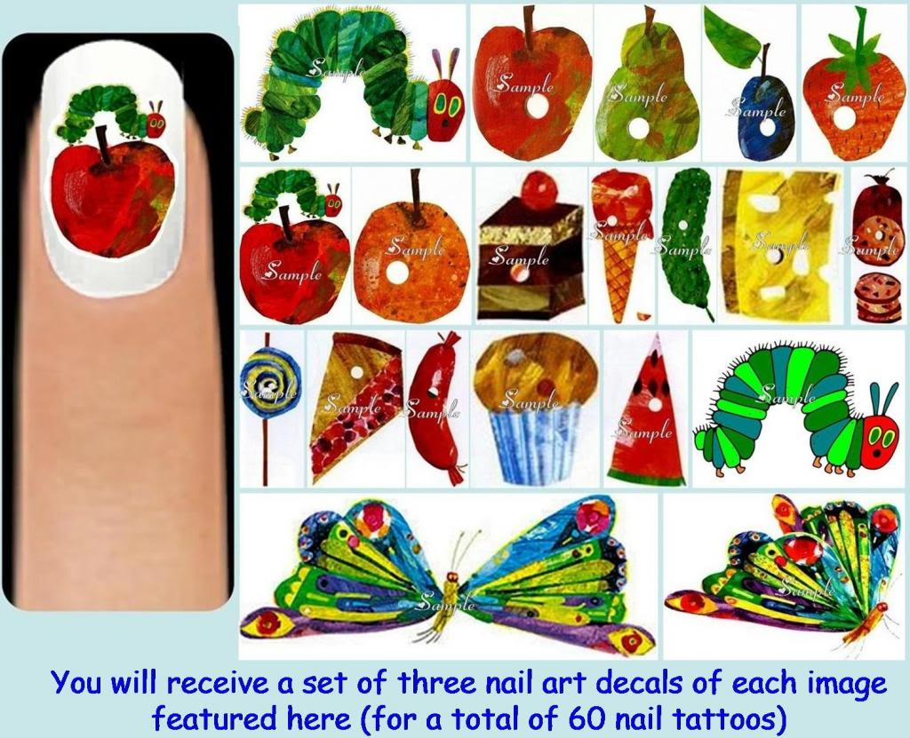 60x The VERY HUNGRY CATERPILLAR Nail Art Decals + Free Gems.
