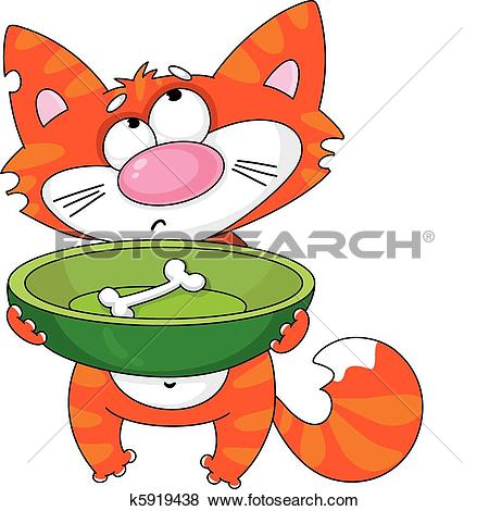 Clipart of hungry cat outlined k6196574.