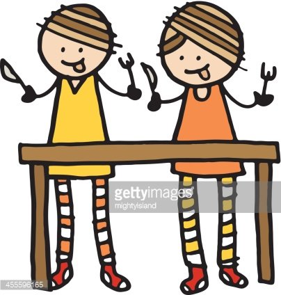 Two hungry kids Clipart Image.