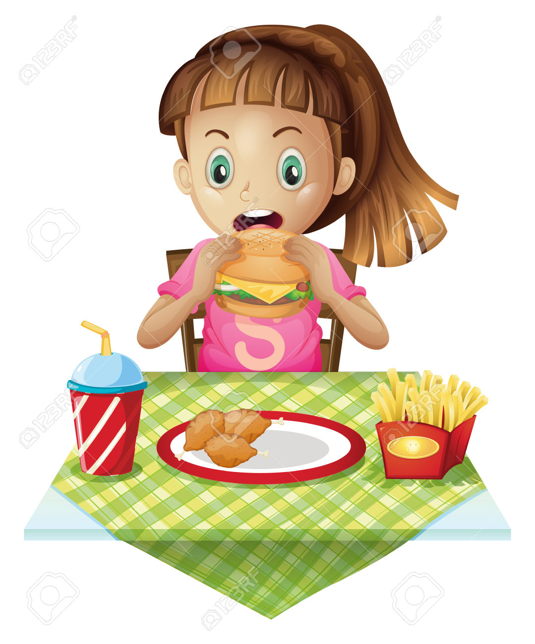 A hungry child eating » Clipart Station.