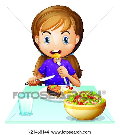 A hungry girl eating lunch Clipart.