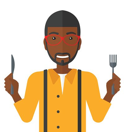 Hungry man waiting for food Clipart Image.