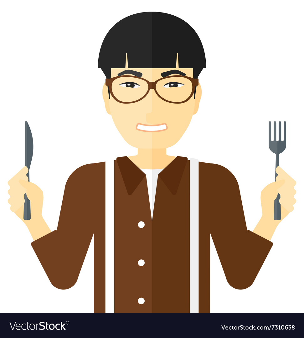 Hungry man waiting for food vector image.