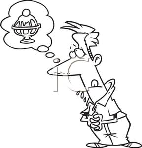 Coloring page hungry man dreaming ice cream clipart image #37491.