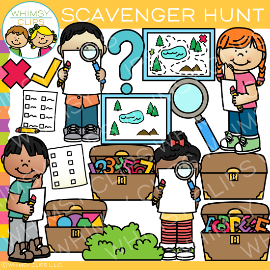 Kids Scavenger Hunt Clip Art.