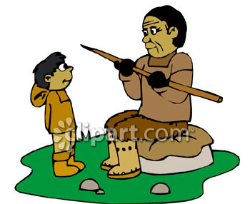 Eskimo Dad Teaching His son To Hunt Clip Art.