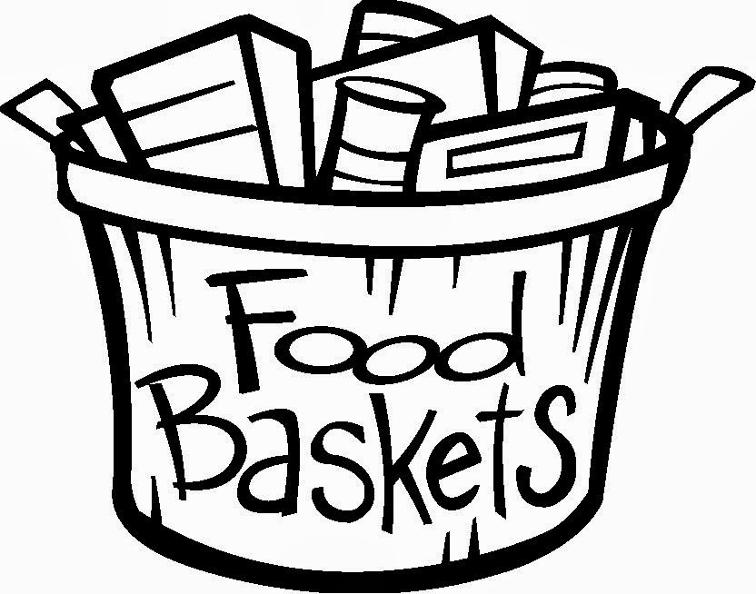 Thanksgiving food basket clipart black and white.