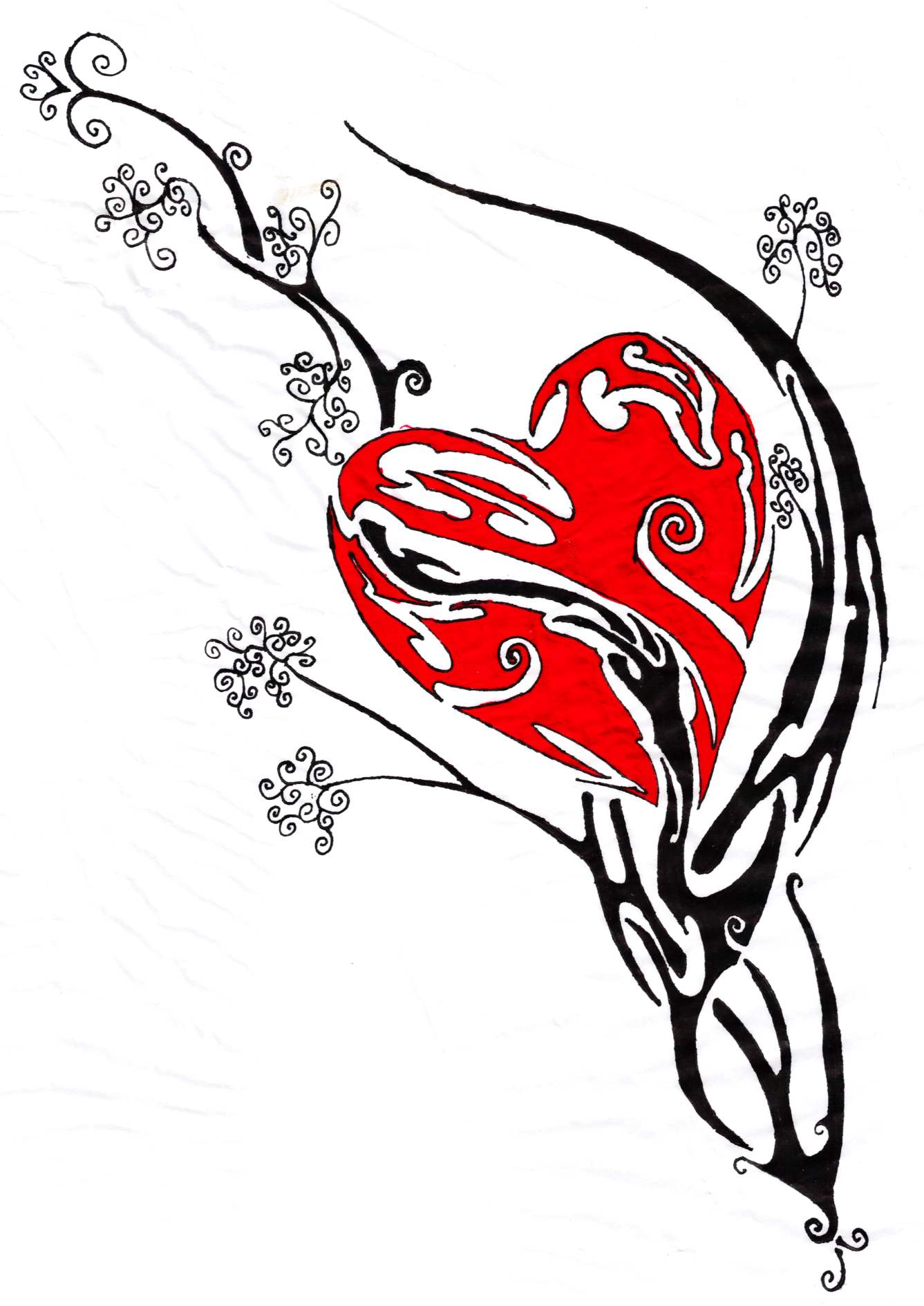 Colored Heart Designs for Tattoos.