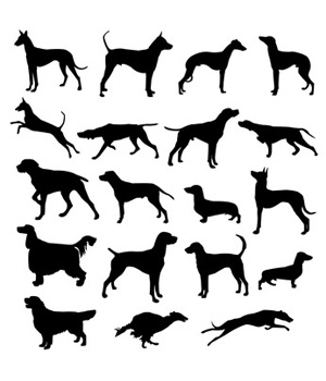 Hunting Dog Silhouettes Clip Art.