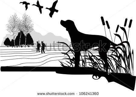Hunting Dog Silhouette Clipart.