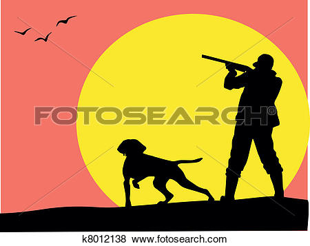 Clip Art of Hunter and dog silhouette, vector k8012138.