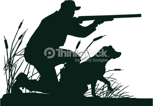 Duck Hunter With Retrieving Dog Silhouette Vector Art.