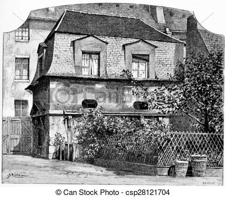 Stock Illustration of The former hunting lodge, vintage engraving.
