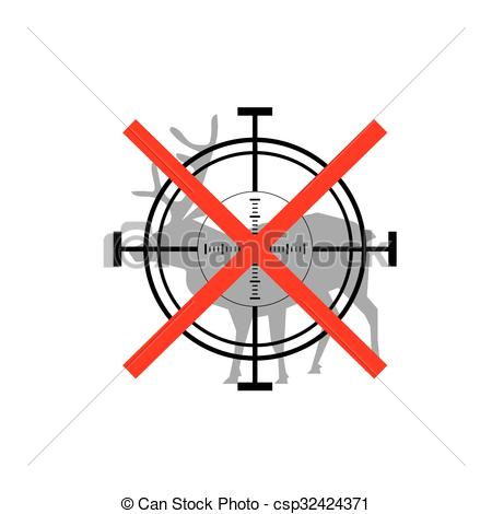 Vectors Illustration of Sign of prohibited hunting deer with.
