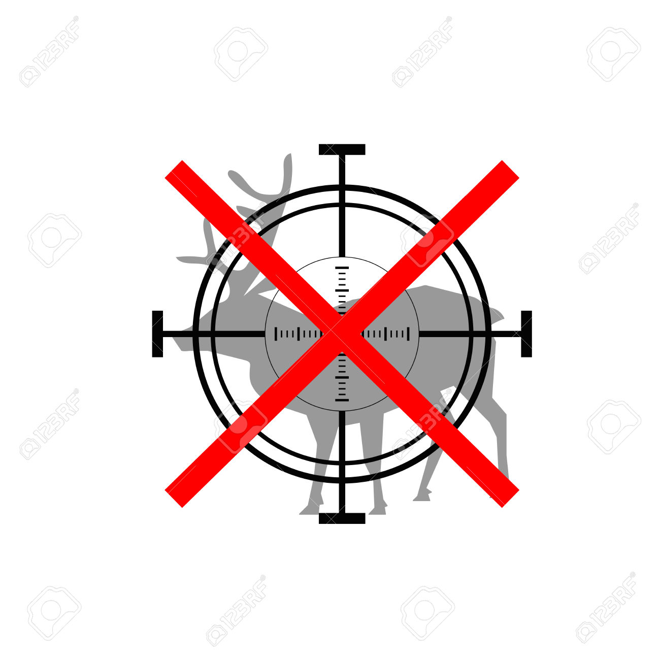 Sign Of Prohibited Hunting Deer With Crosshair Royalty Free.