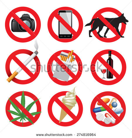 Set Animal Hunt Prohibition Signs Collection Stock Vector.