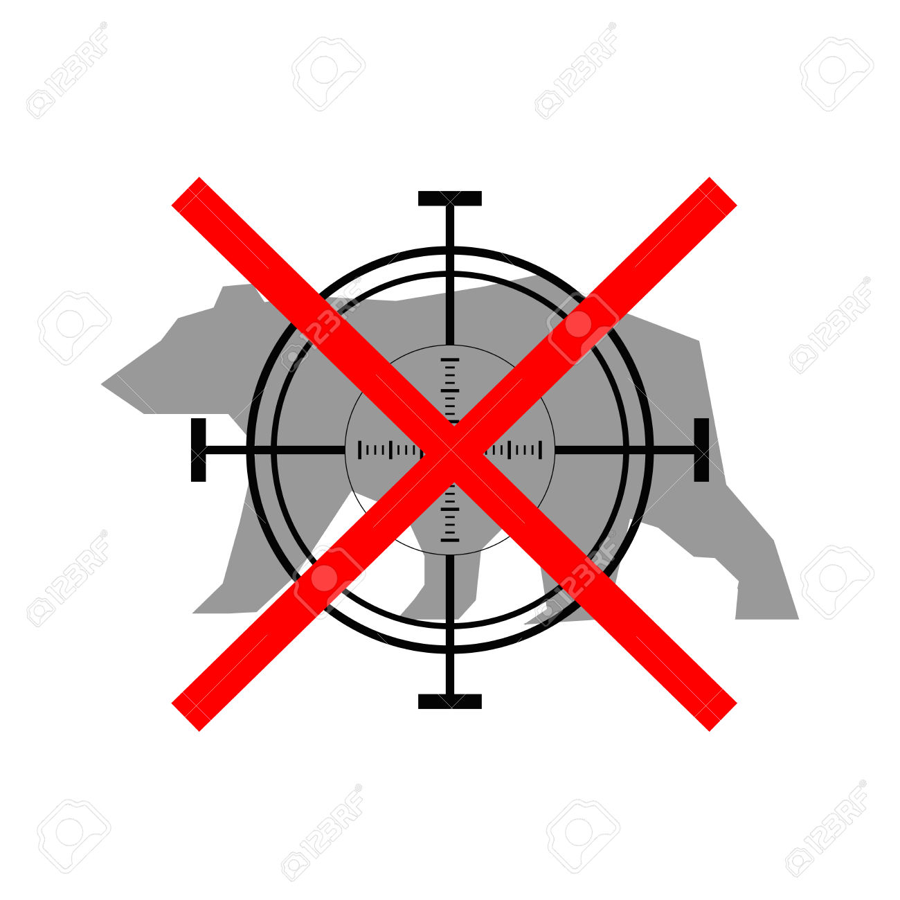 Sign Of Prohibited Hunting Bear With Crosshair Royalty Free.