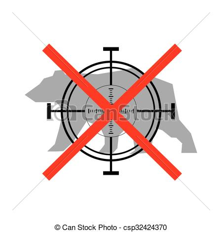 Vectors Illustration of Sign of prohibited hunting bear with.