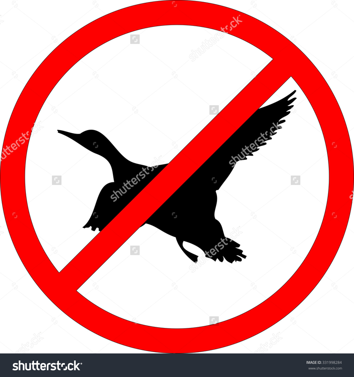 Sign Of Prohibited Hunting On White Background Stock Vector.