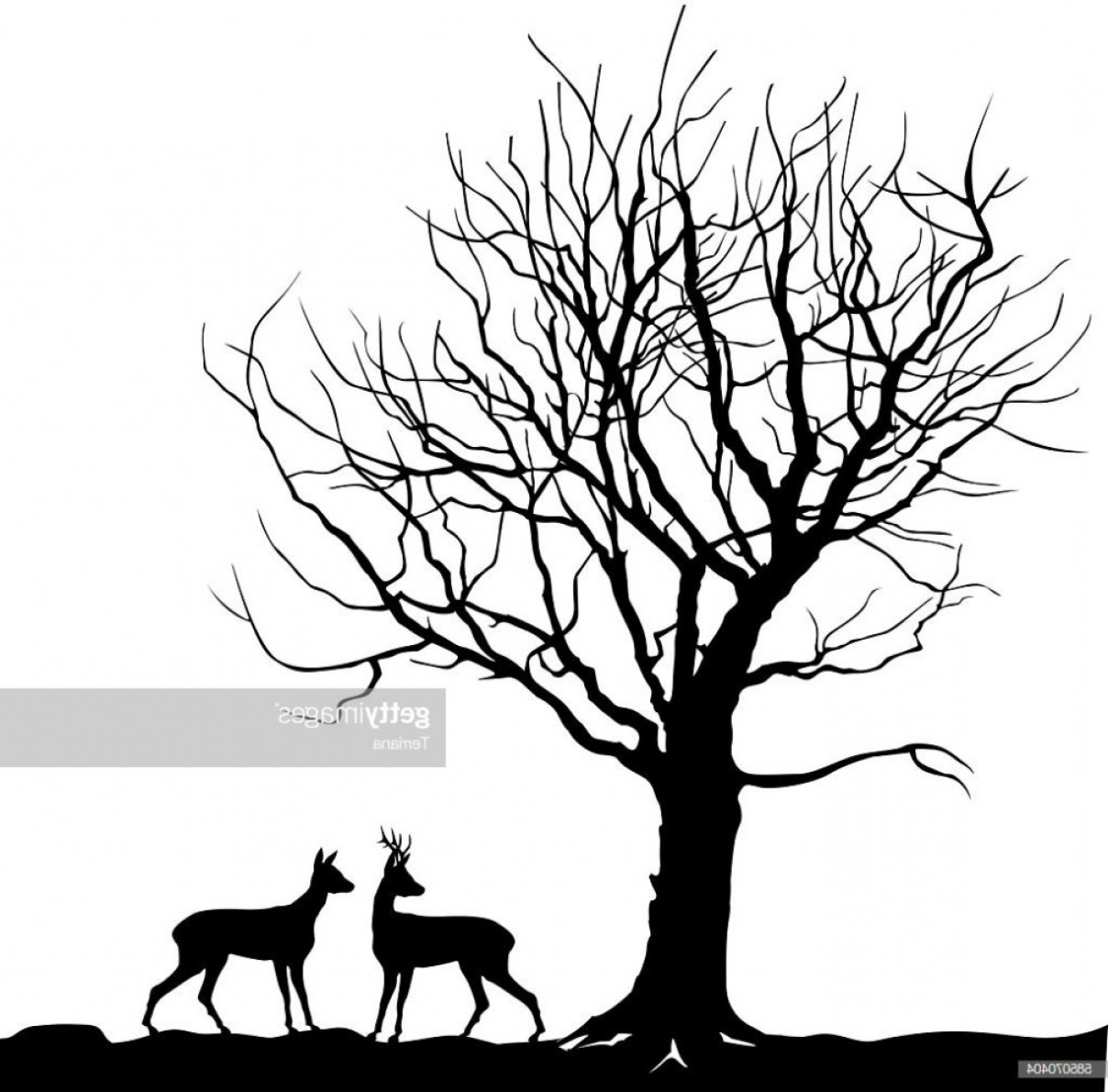 Winter Landscape With Deer Clip Art.