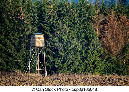 Stock Photo of Wooden Hunters High Seat, hunting tower.