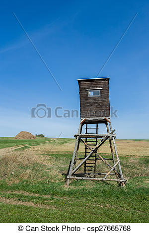 Stock Image of Wooden Hunters High Seat, hunting tower.