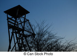 Stock Photography of Wooden Hunters High Seat, hunting tower.