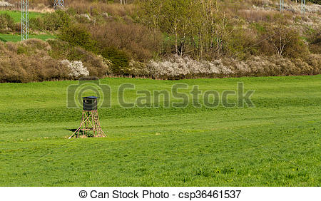 Stock Photos of Wooden Hunters High Seat, hunting tower.